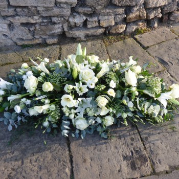 White Mixed Flower Coffin Spray (1)