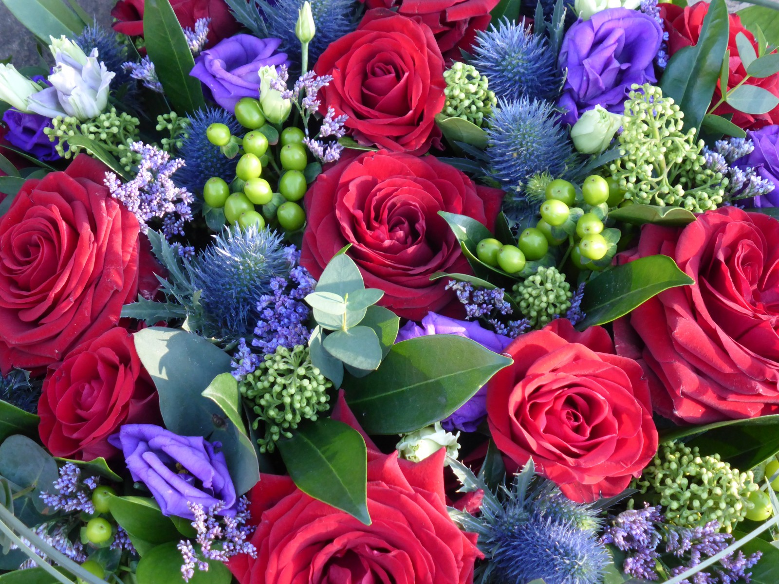 Ruby Red and Blue Posy