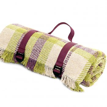 Picnic Rug Roll Recycled Keith Check Mulberry Wine