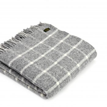 Throw Chequered Check Grey